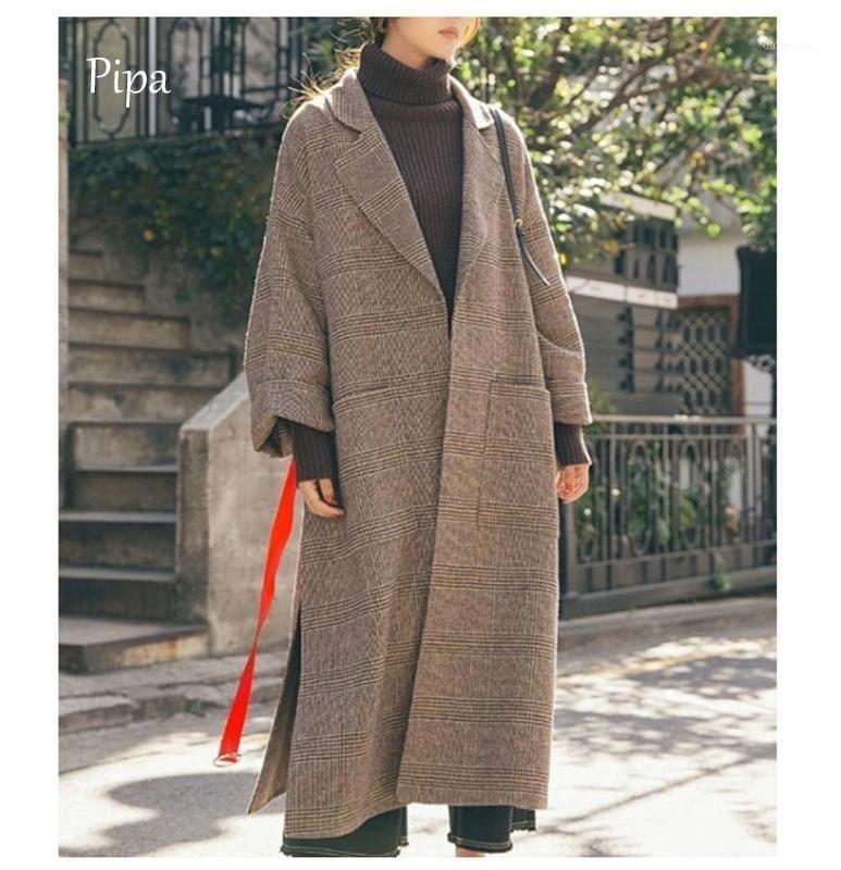 Outono inverno mulheres estilo longo casacos cinzentos moda feminino lã fina outwear casual sólido solto enorme casacos mais tamanho1