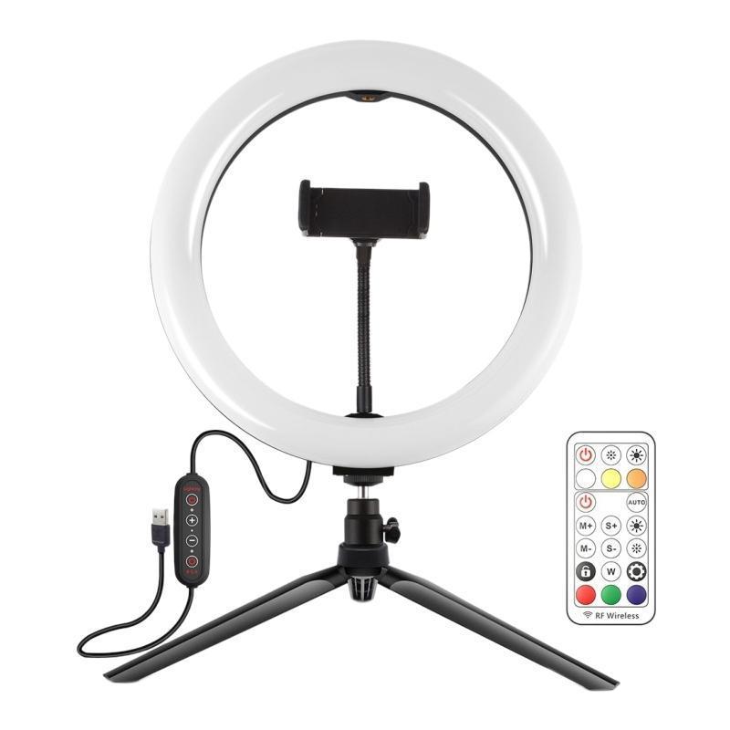 Bague à hameilles chaude Support lumineux 10 pouces 26cm RVB RGB Bague LED photography avec support de téléphone à distance