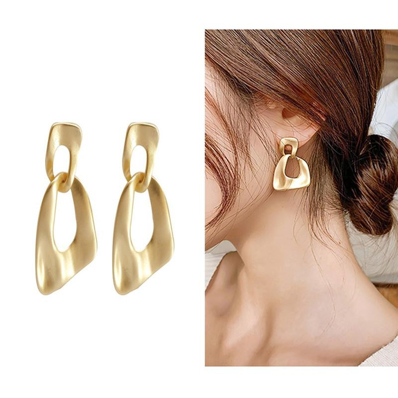 2021 New Fashion Young Womens 18K Gold Plated 925 Silver Needle Earring Classic Design Geometry Shape Earring