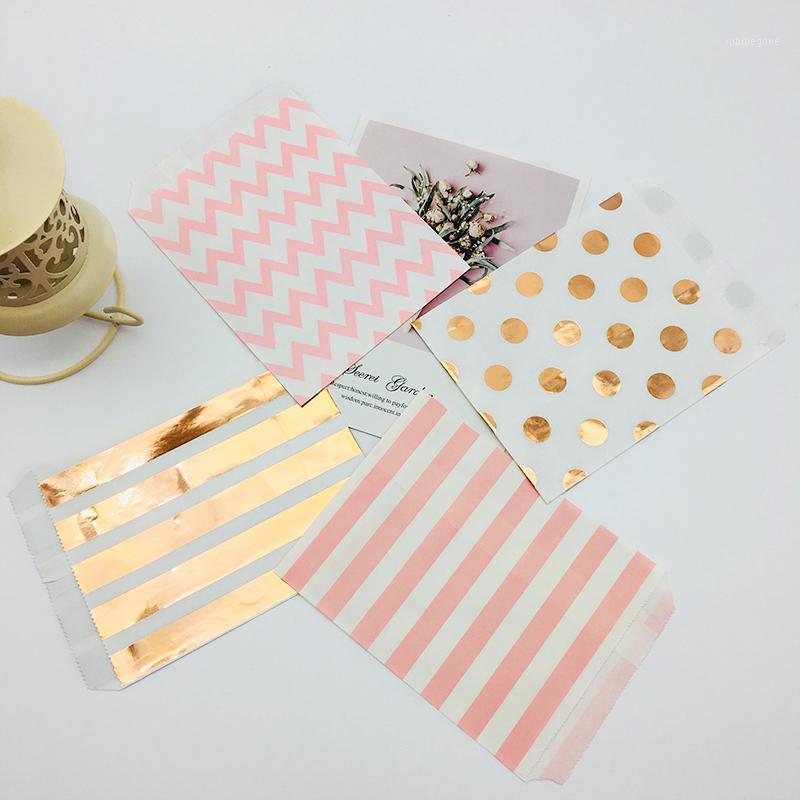 100 pz 5 x 7 pollici Borse di carta kraft foglio rosa oro rosa colorato arancione verde foglio nero rosa polka dots strisce chevron caramelle buffet bag1