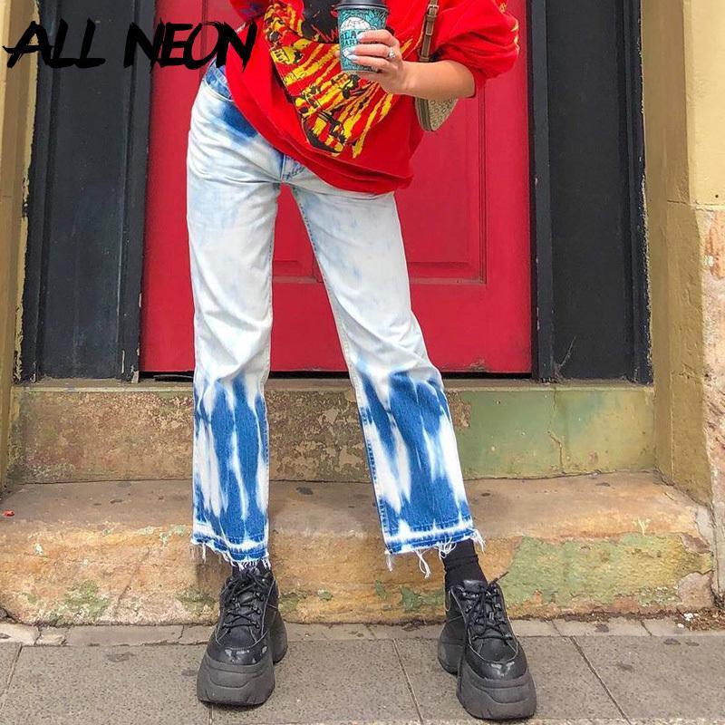 Allneon E-Girl Tea Tea Dye Slim прямые Y2K джинсы 90-х годов мода высокая талия джинсовые брюки винтажные уличные уличные