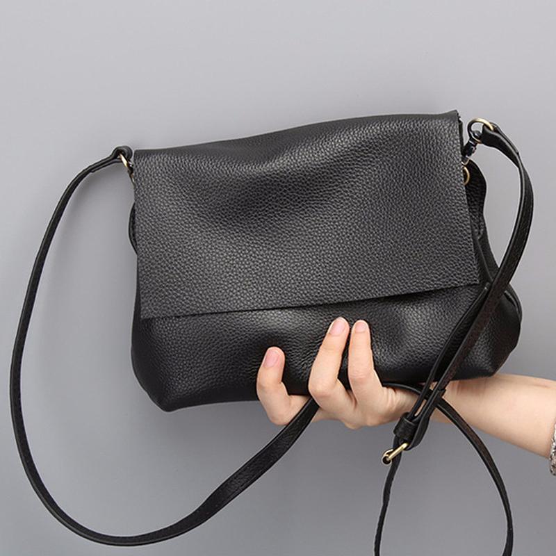 Soft Crossbody Bags for Women Genuine Leather Purse Ladies Black Luxury Small Handbag Lady Girls Shoulder Messenger Bag Female Q1118