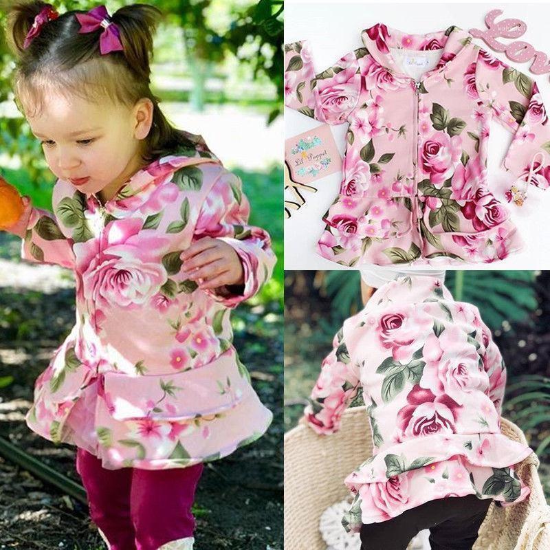 Otoño bebé niña linda manga larga flor estampado con capucha exterior vestido top niños cremallera abrigo rosa1