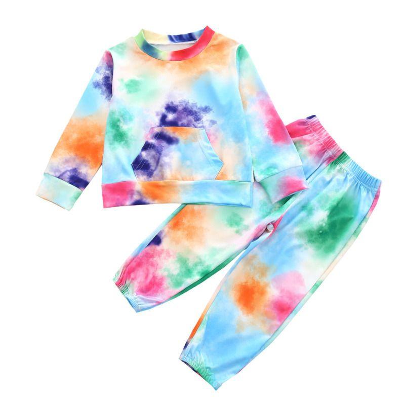 Çocuk Kıyafetler İki Adet Set Giyim Tasarımcı Kravat Boya Yuvarlak Boyun Cepler Ile Kazak Pantolon Bayanlar Bahar Ve Sonbahar Rahat Suits Lababy16