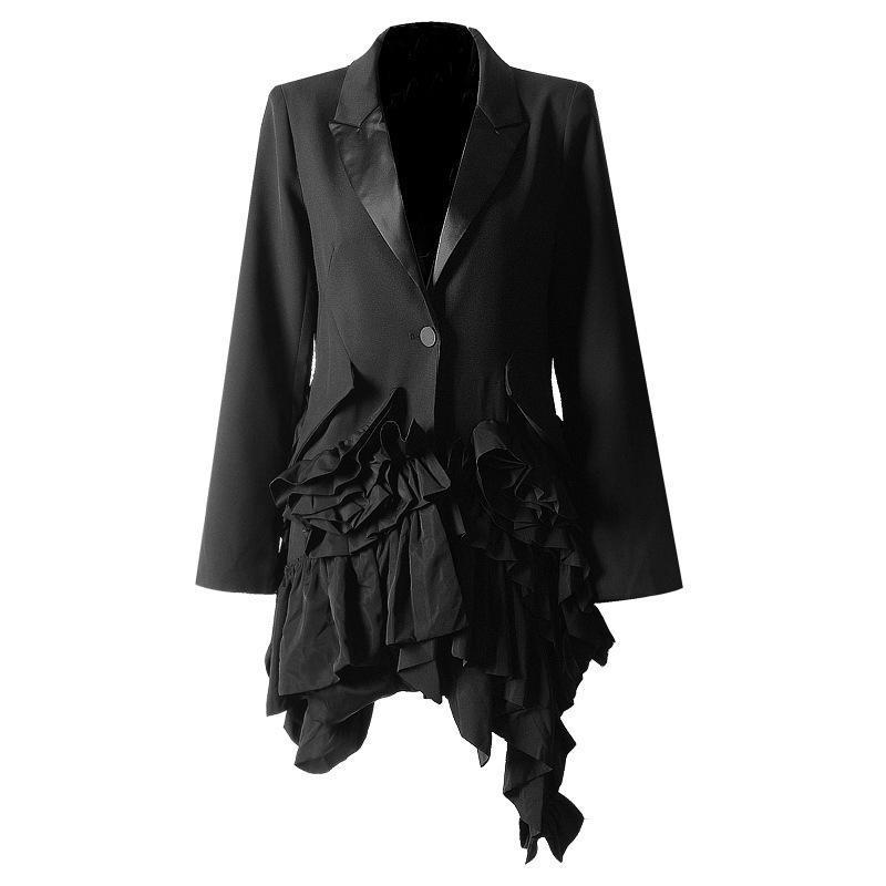 costume de défilé de personnalité féminine printemps 2020 et l'automne dames coutures irrégulières ébouriffé veste de costume mince à manches longues