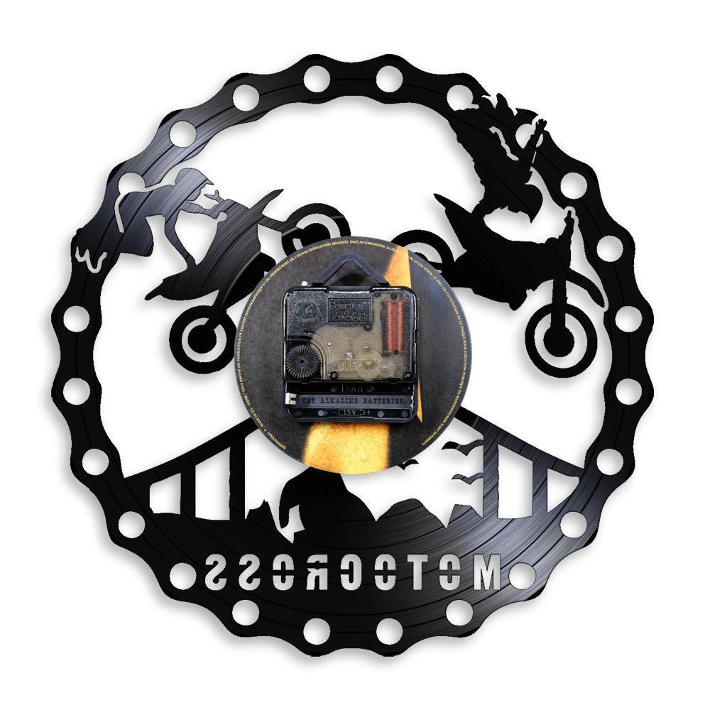 Motocross Yarış Brappp Dekor Modern Duvar Saati Dirtbike Trick Sürme Vinil Kayıt Saat Freestyle Motosiklet Yarış Biniciler Hediye Z1207