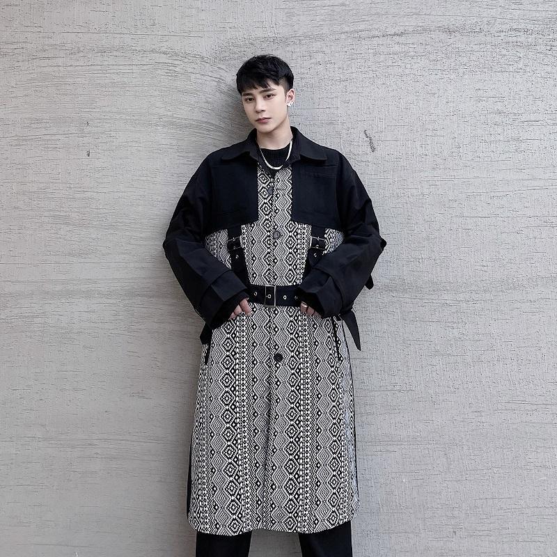 Maschio Giappone Streetwear vintage allentato a vento giacca giacca giacca tuta sportiva da uomo retrò modello gilet brandage lungo trench