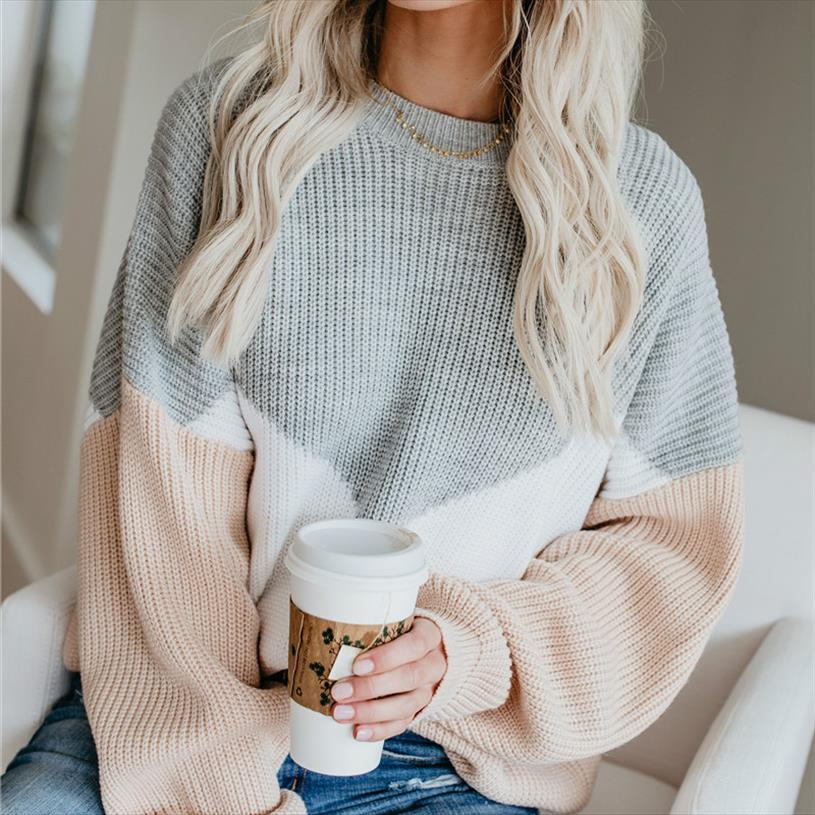 Loose Knitted Sweater Women Jumpers Long Sleeve o neck Woman Pullovers Sweater 2020 Autumn Winter Color Block Casual Sweater New