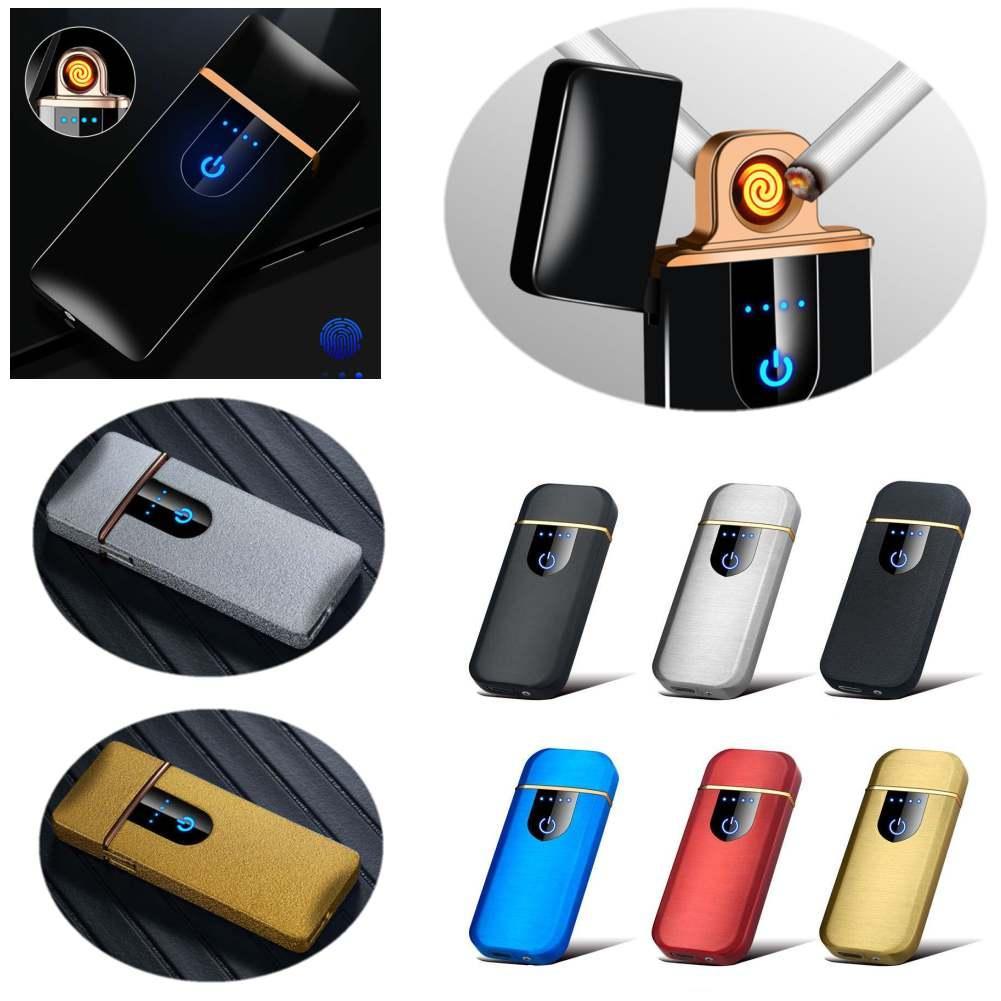 USB Şarj Edilebilir Çakmak Elektrikli Isıtıcılar Dokunmatik Sensör Metal Sigara Çakmak Rüzgar Geçirmez İnce Şarj Algılama LED Tam Ekran