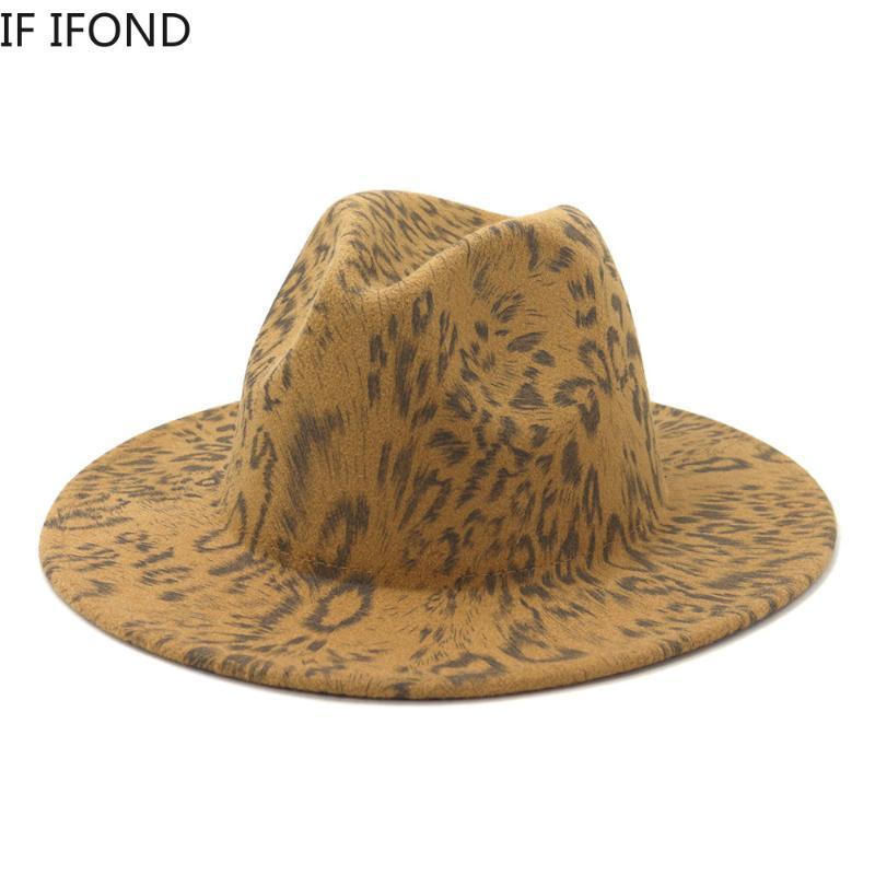 Mulheres Hound Brim Impressão Femme 2021 Fedora Lã Moda Chapéus Padrão Jazz Inverno Caps Chapeau Wide Ewial