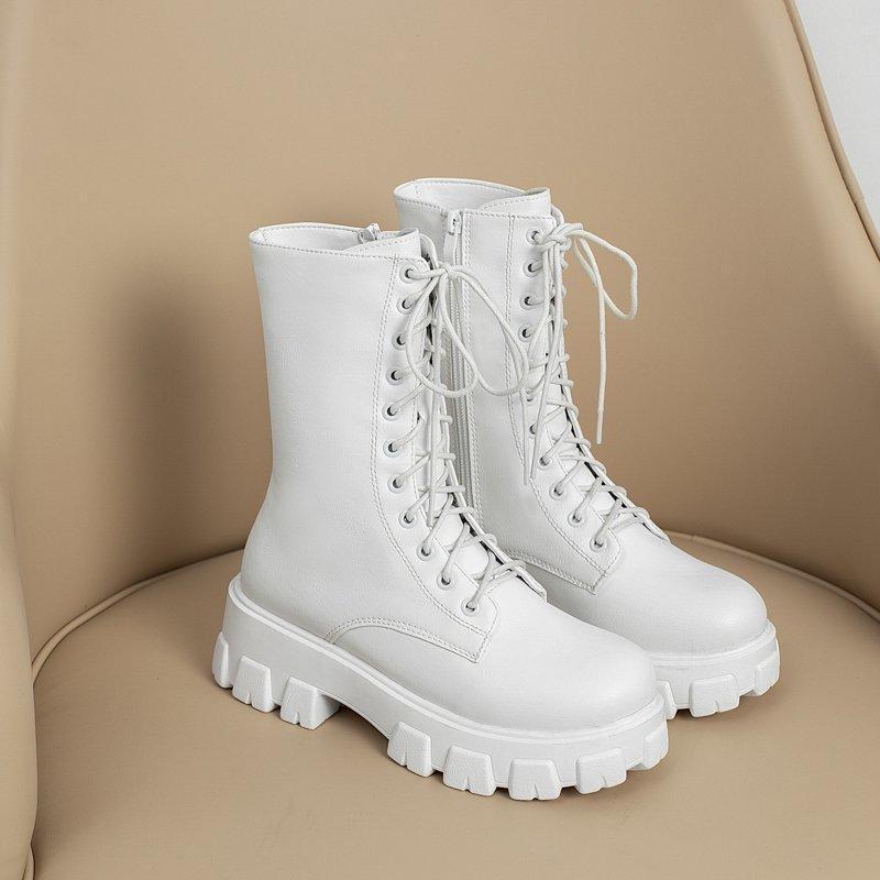 2020 Blanc Combat Bottes Femme Automne Cuir Noir Plate-forme Gothique Chaussure d'hiver chaud en peluche femmes mi-mollet Taille 35-43