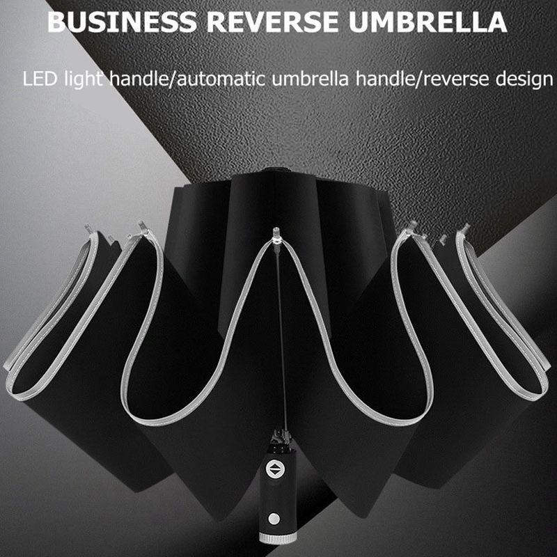 105cm Automatic Reverse Guarda-chuva Homens LED Luminous Wind à prova de vento dobrável negócio forte guarda-chuva chuva homens carro de alta qualidade guarda-chuvas 201111