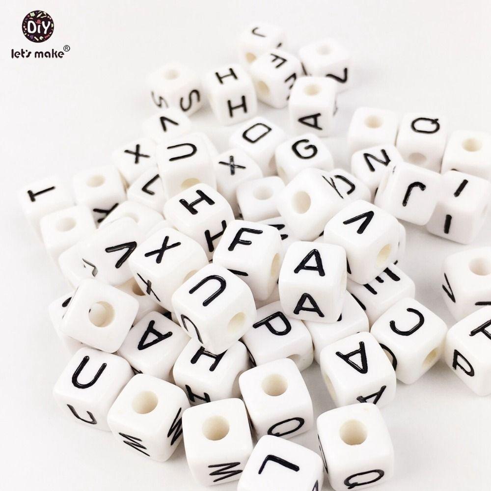 Let's Make Acrylic Letters 200PC Children Early Education Alphabet White Size Of 1cm Beads Handmade DIY Bracelet Plastic Beads 201123