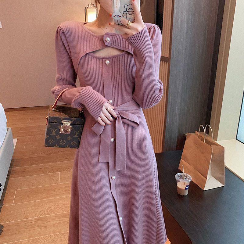 Winter Knit Women Casual Long Sleeve Button Elegant Midi Sweater Female Office One Piece Dress Korean 2020 Autumn Q1229