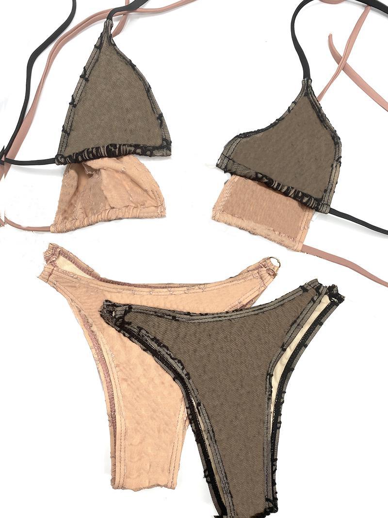 20SS Italiano Bikini Primavera Verão Novo Sleepwear Underwear Letras Duplas Das Mulheres Swimwear Tops de Alta Qualidade Bikini Jacquard
