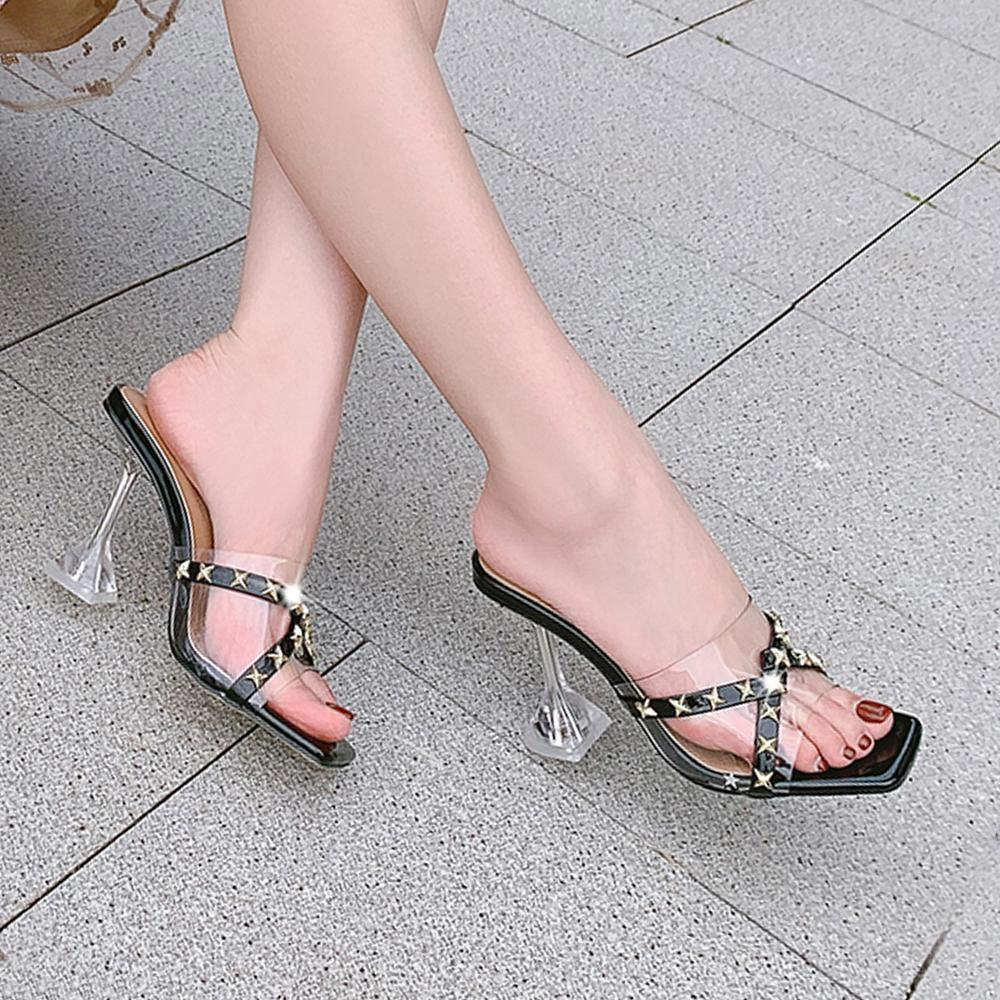 2020 Hohe Frauennieten transparente Schuhe Rutsch-in rutschigen Schlagen Damen Open-toed-Zeh-Zeh-Zeh-schmaler casual NEUER 0NTJ