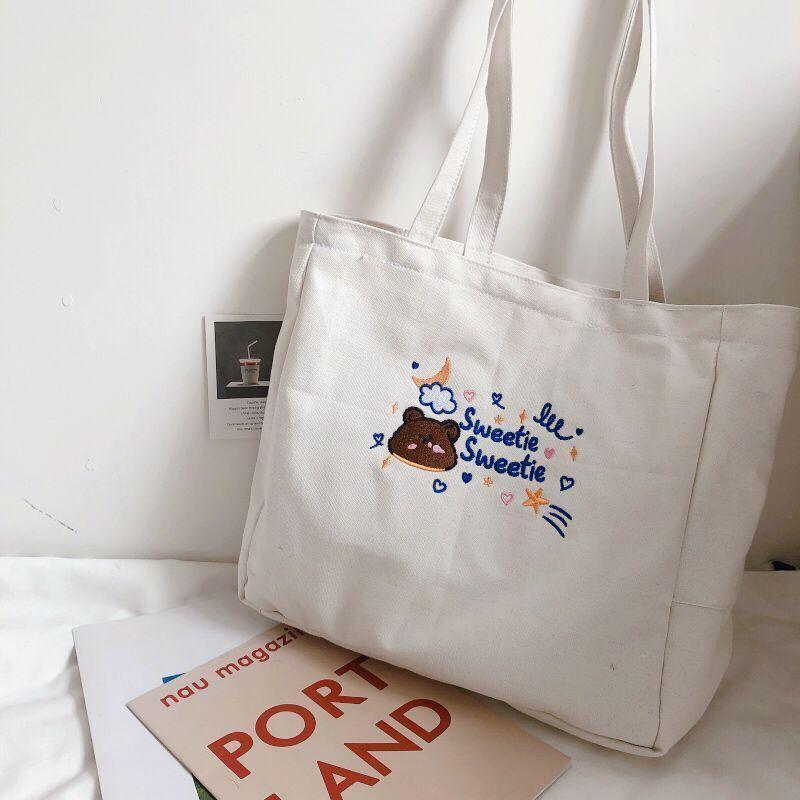 Simple Ladies Travel Bag Folding Cute Cartoon Bear Canvas Bags Shoulder Shopping Large Handbags Fashion Women Girls Casual Tote 7IRJ Rfkpw