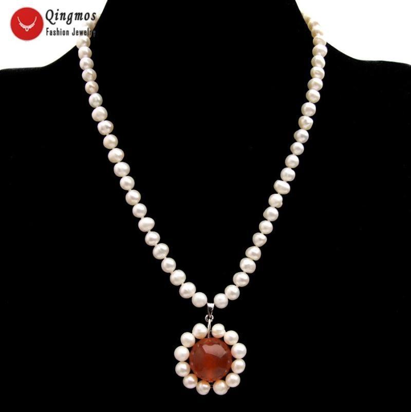 """Anhänger Halsketten QingMos Trendy 30mm Perle Halskette Für Frauen mit 6mm Natürlichen Weiß China Rot Jades Schmuck 17 """"NE6531"""