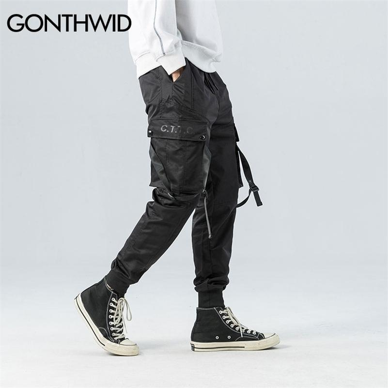 GONTHWID LADO Bolsillos Cinta Hebillas Cargo Harem Pantalones 2020 Hip Hop Casual Joggers Pantalones Streetwear Fashion Sweetpants Pantalones LJ201217