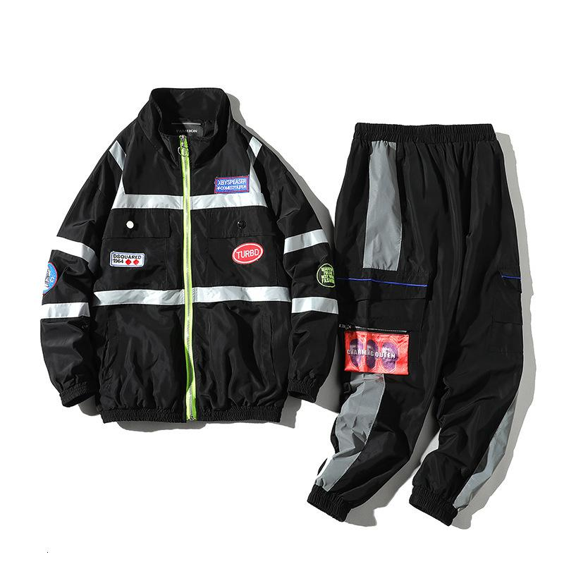 2021 Liebhaber 2 Stück Männer Neue Frühling und Herbst Splicing Streetwear Jacke + Pant Set Hip Hop Sport Trainingsanzug YJef