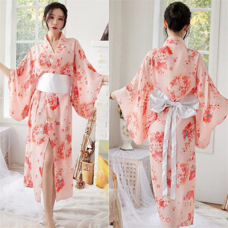 Ropa étnica Japanese Sakura Girl Kimono Vestido Obi para las mujeres Kawaii Yukata Sexy Túnica Larga Roba Floral Chiffon Japón Estilo Pajamas Partido