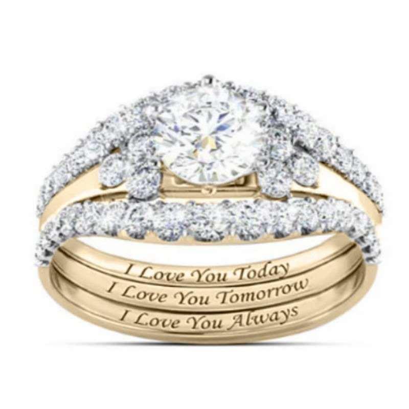 Yunjin New Hot Sale Diamond Three-Piece Ring Set Popular Lady Engagement Hand Jewelry