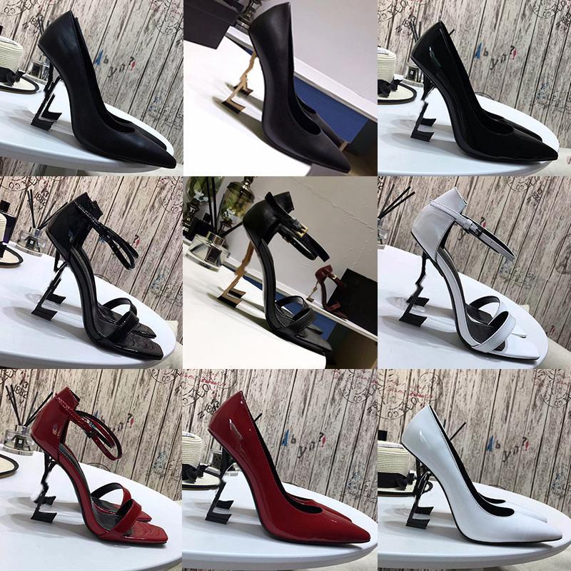 상자 2020 고품질 새로운 디자이너 여자 하이힐 나이트 클럽 파티 웨딩 럭셔리 블랙 레드 슬라이드 지적 발가 펌프 드레스 신발