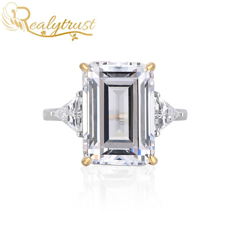 Reaytrust 925 sterling silver 15,5 ct smeraldo taglio sona diamante anello per le donne gioielli rosa giallo creato preziose anelli di nozze Z1119