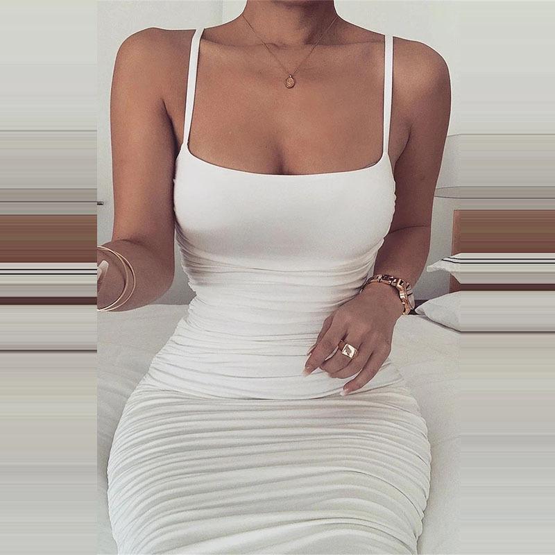 Nadafair Spaghetti Strap Tight Bodycon Dress Ruched Sexy Midi Dress Summer White Tube Party Dresses Women Club Two Layers F1130