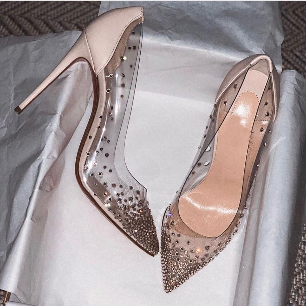 Famosas bombas sexy pointed dedo saltos altos mulheres sapatos de fundo vermelho moda senhora stiletto saltos de festa de festa de casamento eu35-43, caixa