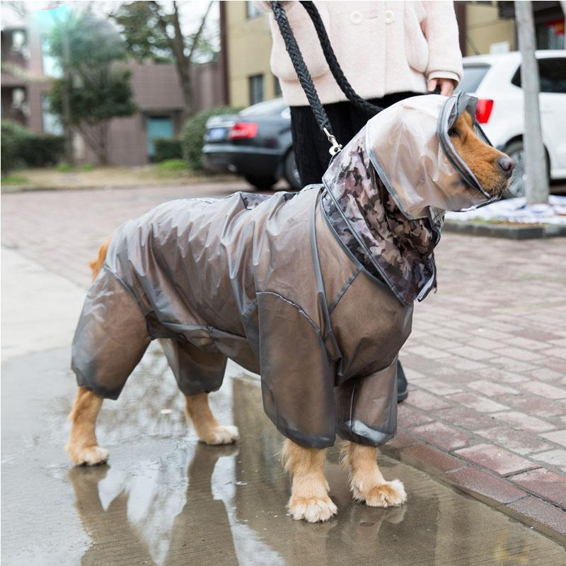 Dog Apparel Outdoor Large Raincoat Waterproof Big Clothes Coat Rain Jacket Medium Labrador Four Feet Hooded Dogs