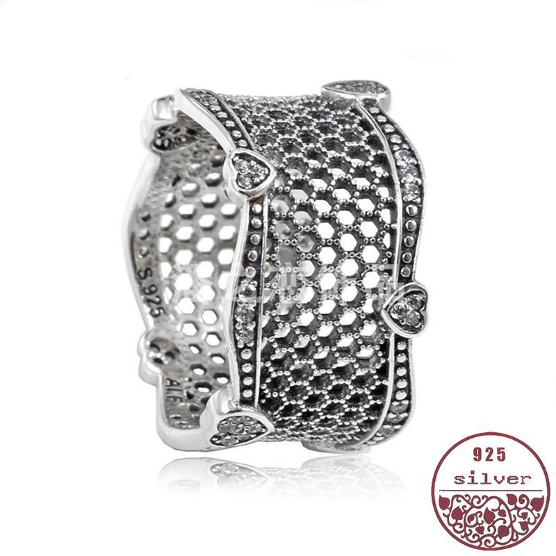 Crafts anillo de circonio cúbico femenina 100% de plata 925 chapado en oro negro nido de abeja estilo de la corte elegante femenina