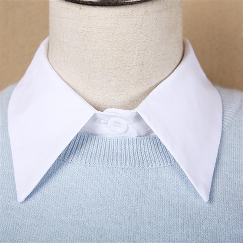 Воротник Дамы белая блузка поддельных воротников Элегантный офис 2021 женский отказ поддельные полусмысленные моды женщины рубашка одежда AOQBW