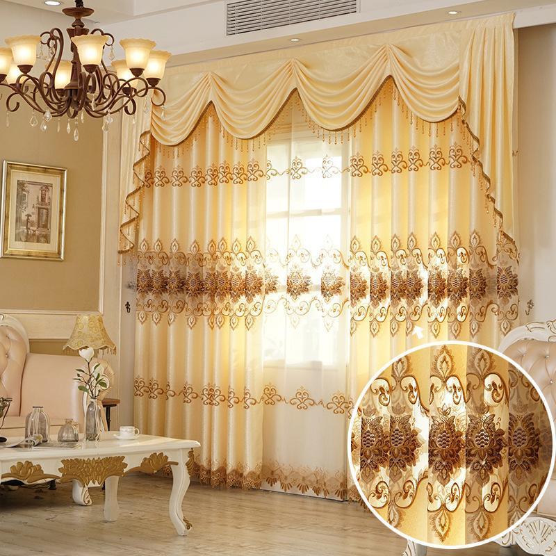 Новый европейско-стиль водорастворимые вышитые завесы для гостиной столовой спальня ткань черные шторы