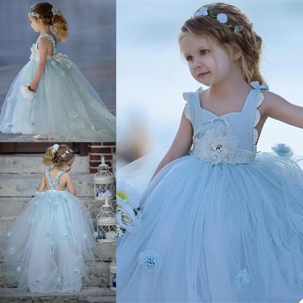 Ciel bleu jolie fleur girls robes dentelle appliques enfants portant toddler filles filles filles robe guiche robe vestidos