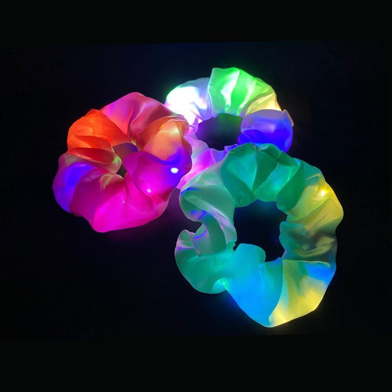 LED Aydınlık Domuz Büyük Bağırsak Saç Daire Üç Parlak Renk Dingbu Şişman Intestines Saç Daire Gece Kulübü Disko Saç Halat Kafası