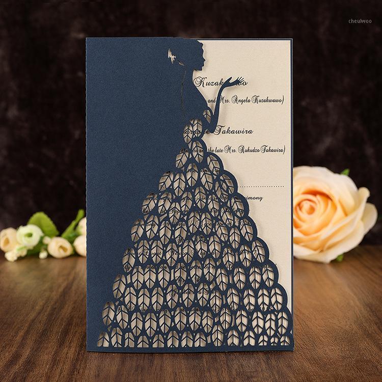50pcs / lot láser corte princesa invitaciones de boda tarjetas para niñas cumpleaños dulce 15 16 quinceañera fiesta invitación bridal1