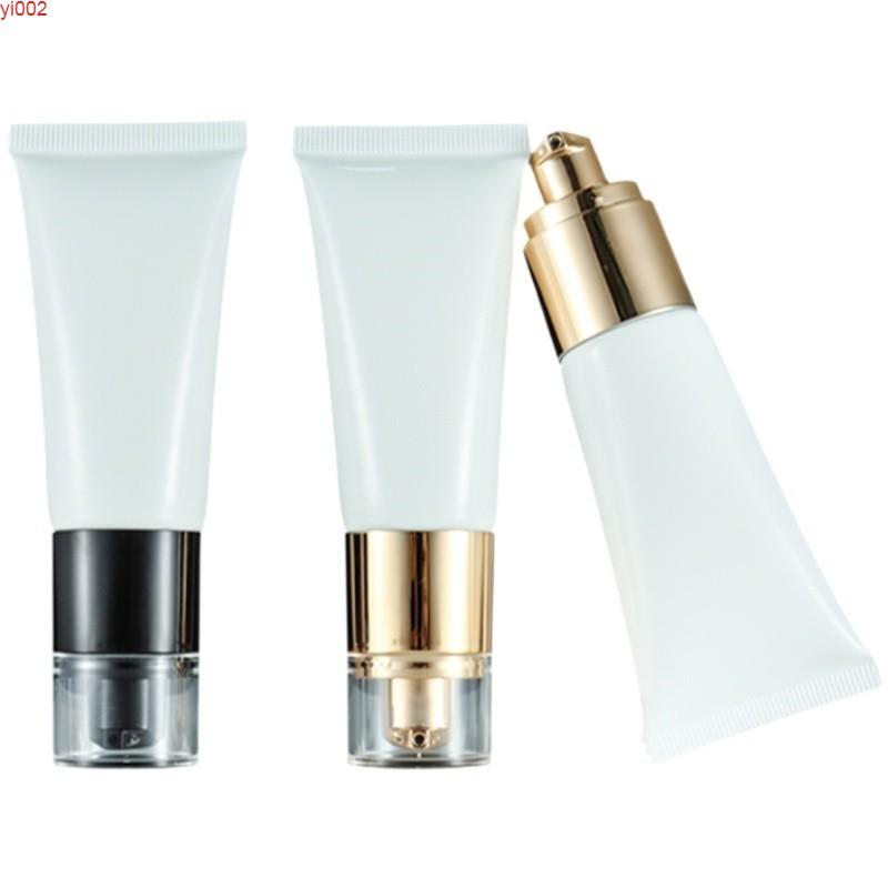 30ml Empty White Plastic Squeeze Tube Gold Black Airless Lotion Pump Cosmetic Packaging Container Refillable Bottle 25piecesgood qualtty