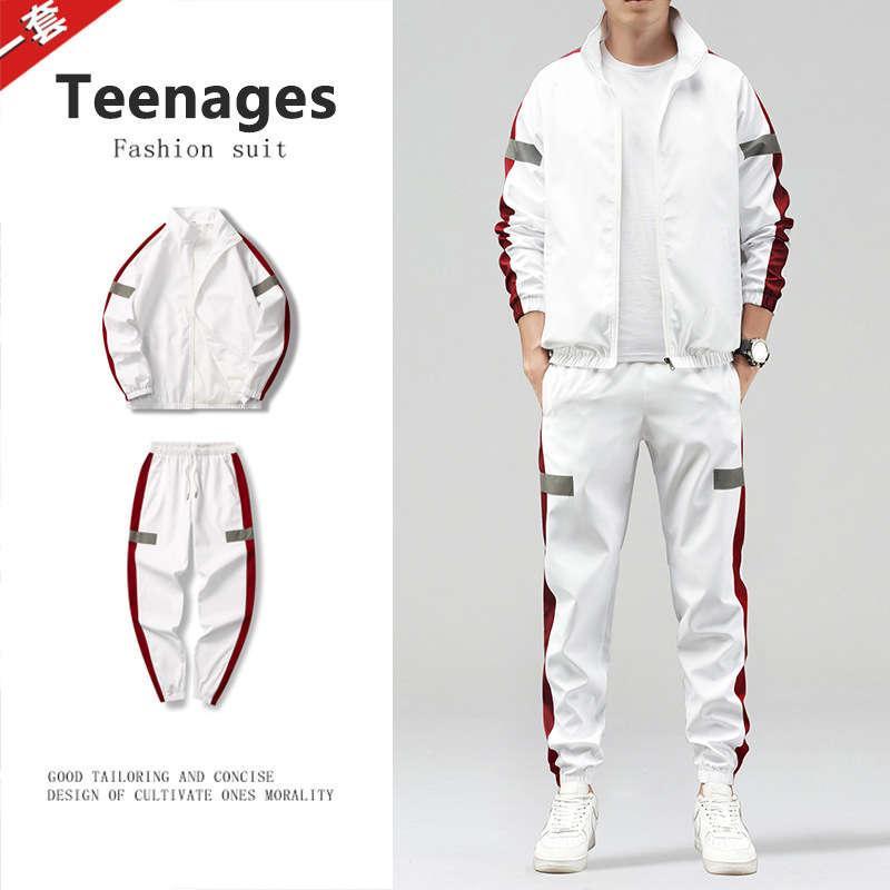 2020 Tempo libero Sport Suit Stand Collar Collo Moda coreana Molla e Giacca Slim da uomo autunno