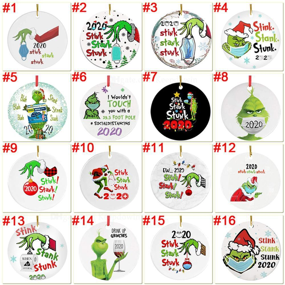 Grinch Quarantine Christmas Ornament Xmas Hanging Ornaments Personalize for Christmas Tree Decor Wearing Mask Designer FY4351