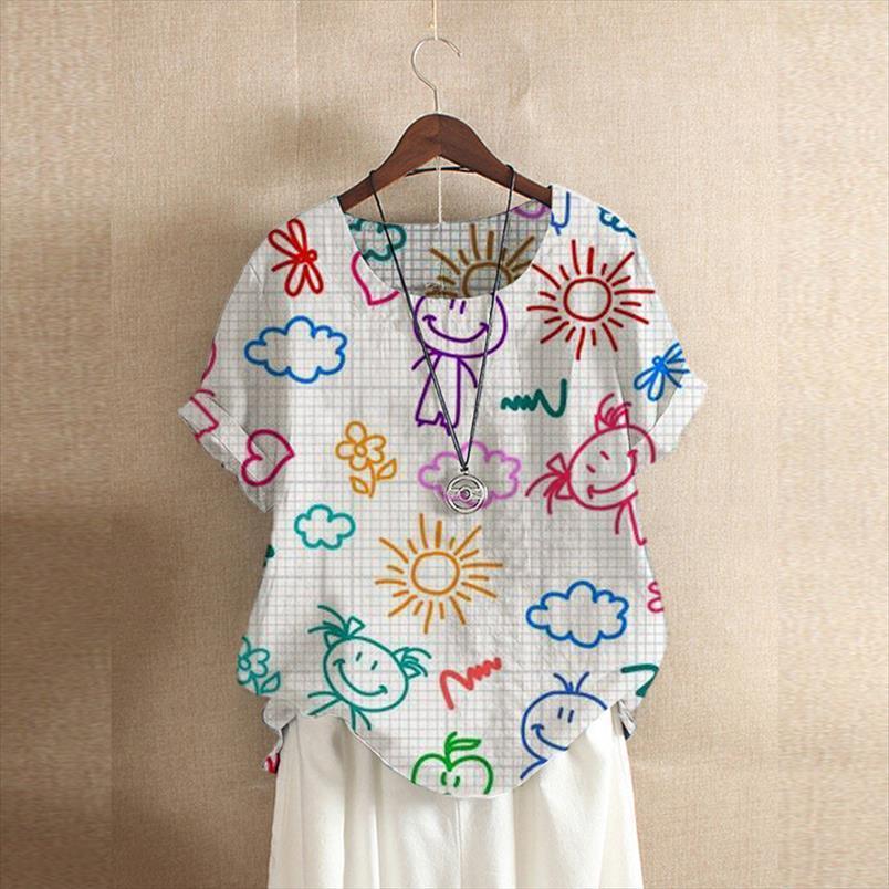 Engraçado bonito dos desenhos animados impressos mulheres camiseta mujer de manga curta verão plus size casual casual branco azul tees o pescoço camiseta