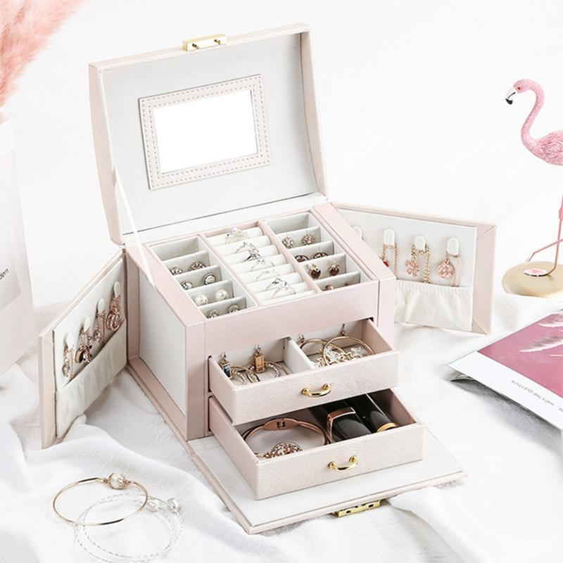 Jewelry Packaging Box Casket Box For Jewelry Exquisite Makeup Case Jewelry Organizer Container Boxes Graduation Birthday Gift Z1123