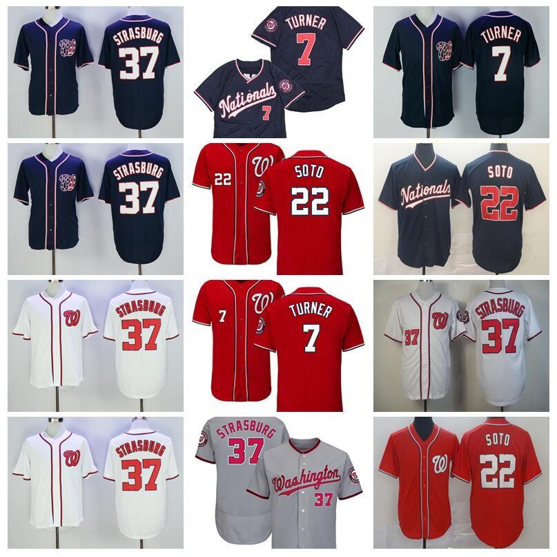 2018 Stil Beyzbol 7 TREA Turner Jersey 22 Juan Soto 37 Stephen Strasburg Serin Baz Kırmızı Beyaz Gri Donanma Mavi Dikişli İndirim Ucuz