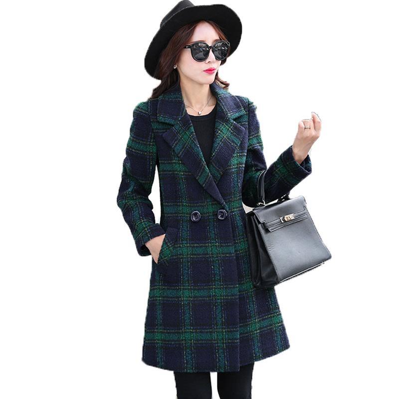 2019 outono casaco de lã mulheres mulheres blends escritório senhora Double Breasted casacos longos inverno casual casaco quente outerwear