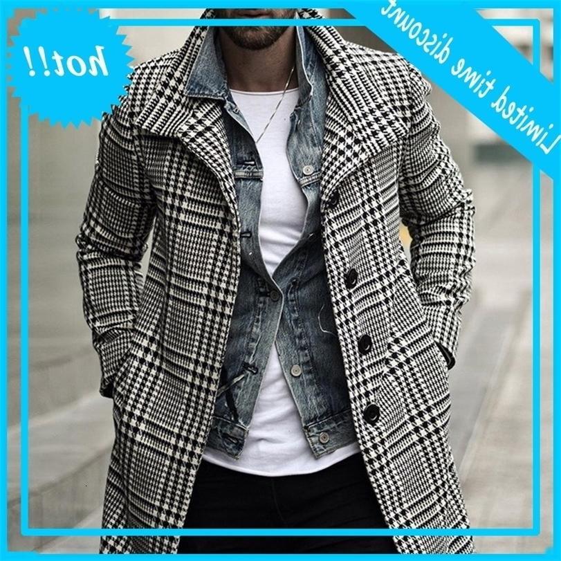 Kore kış sıcak ceket, yün giysi, uzun, siyah, beyaz, karışık boya, büyük erkek ceket