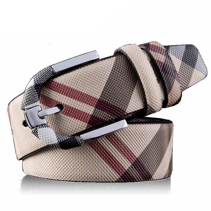 Moda Selvagem Stripe Homens Mulheres Real Cinto De Couro Designer de Alta Qualidade Cintura Cintos de Metal Pin Buckle Strap