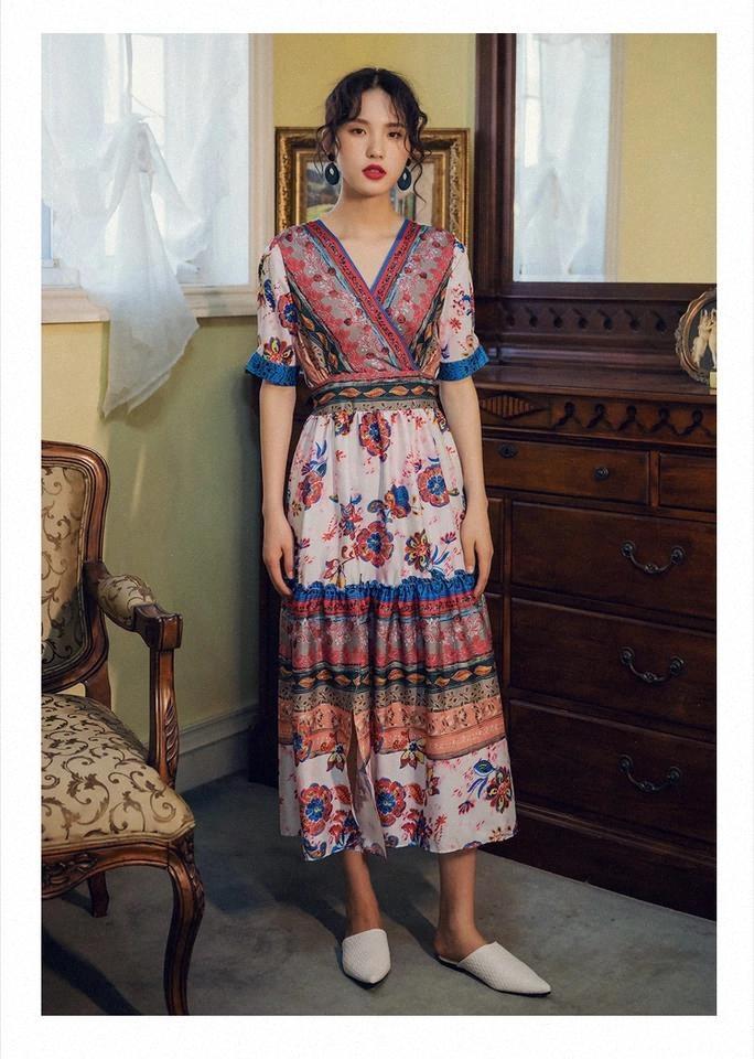 Feminina Bohemia Color Bainha Vestido Longo Flare Manga Alta Collar Split Stitching Line Mini Dress Senhoras Moda Sexy Casual Roupas # TH0A