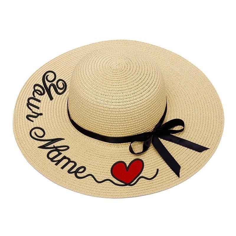 Вышивка персонализированные пользовательские текст логотип вышивка женщины солнца шляпа большие краевые соломенные шляпа открытый пляж шляпа летом шапка Dropshippin T200602