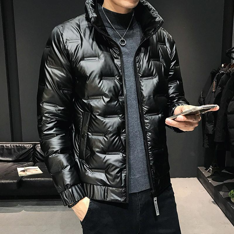 Winter Bright Face Men's Korean Trend Thickened White Warm Stand Collar Smooth Down Jacket