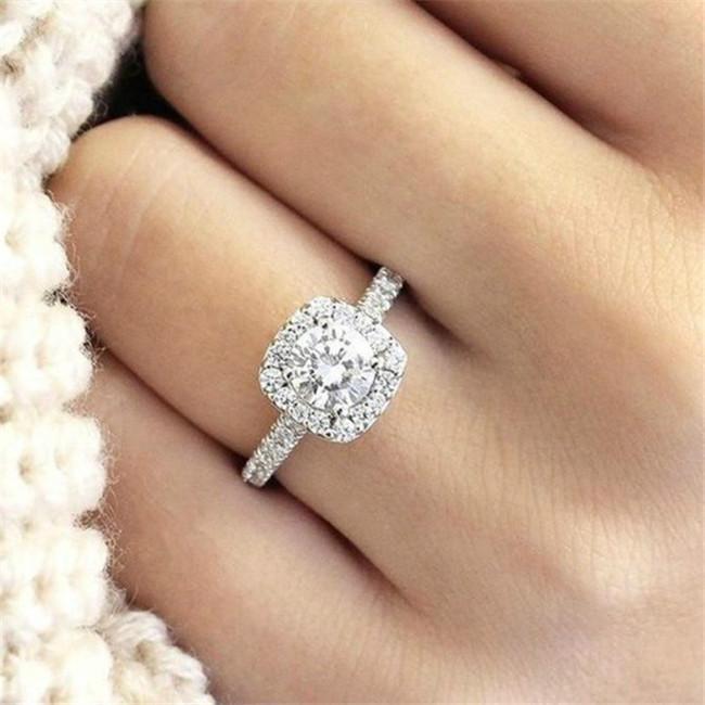 Simples Mulheres Cristal 925 Anéis de Prata Esterlina para Jóias de Noivado de Casamento Acessório Fine Rhinestone Anillos Presente